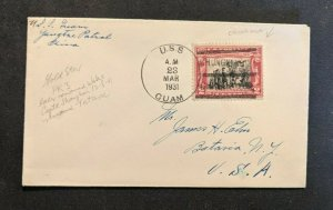 1931 USS Guam Navy Cover Chungking China to New York