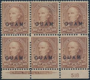 GUAM #8 PLATE BLOCK OF 6 WITH IMPRINT, VF OG NH WL614