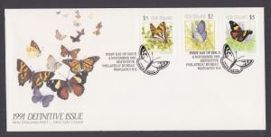 New Zealand Sc 1075-1077 FDC. 1991 Butterfly definitives, cacheted, unaddressed