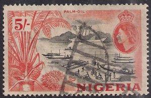 Nigeria 1953 - 58 QE2 5/-d Black & Orange used SG 78 ( E495 )