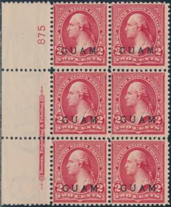 GUAM#2 LEFT PLATE #875 BLK/6 WITH IMPT F-VF OG TROPICAL GUM CV $300 BR5775
