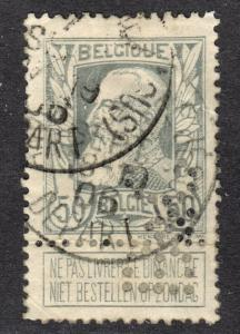 Belgium Scott 89  F+  used with private perfins.