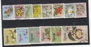 UGANDA (MM304) # 115-129 VF-USED VARc,sh 1969 VARIOUS FLOWER DESIGNS