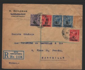 Great Britain Office in Turkey Sc#56-58 Used on Registered Cover to France