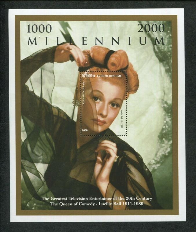 Turkmenistan Commemorative Souvenir Stamp Sheet - I Love Lucy - Lucille Ball