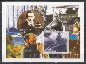 Rwanda, 2001 Cinderella issue. 1900`s sheet. Caruso, Inventors & Cezanne. IMPERF