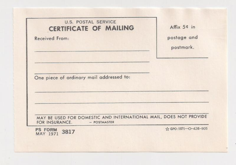 1971 Certificate of Mailing Form 3817 Five Cents imprint USPOD