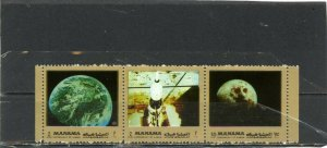 MANAMA 1972 SPACE RESEARCH STRIP OF 3 STAMPS PERF. MNH