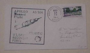 US SPACE  APOLLO 9 PRIME SHIP USS GUADACANAL 1969 CACHET ADDRESSED