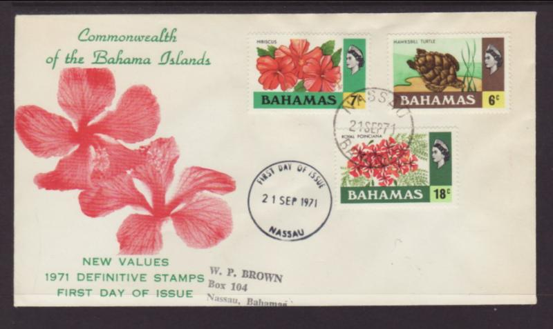 Bahamas 318,319,325 Flowers,Turtle Typed FDC