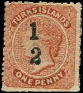 Turks Islands SC# 13 Victoria 1/2(p) on 1p mint no gum