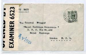 MOROCCO AGENCIES Cover *British Post Office Tangier* 1942 WW2 Censor KGVI CS184