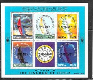 Tonga #775 Round the World Yacht Race (MNH) S/S-Specimen CV11.00