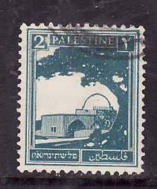 Palestine-Sc#63- id5-used 2m Prussian blue-1927-42-