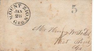 Georgia Stampless Cover Mount Zion Jan 28 - Unlisted - RARE- Town - No contents