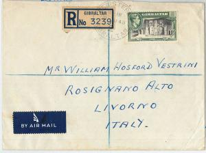 62288 -  GIBRALTAR - POSTAL HISTORY -  REGISTERED COVER to ITALY 1948