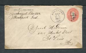 Postal History - Rockport IN 1902 Black Cork Killer Cancel Cover B0404