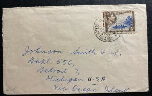 1955 Gilbert & Ellice Islands Cover To Detroit MI USA Via ocean Island