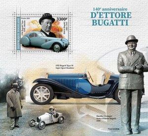 TOGO - 2021 - Ettore Bugatti - Perf Souv Sheet - Mint Never Hinged