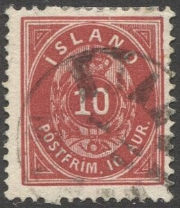 ICELAND 1897  Sc 26 10a Perf. 13 Used F, light cancel