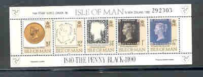 Isle of Man  Sc 422h 1990 Penny Black to New Zealand stamp sheet mint NH