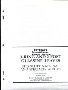 Pkg. of 100 Scott ACC 107 International National Glassine Leaves 3 Hole 2 Post