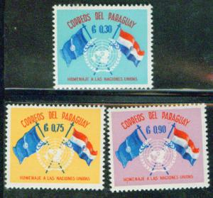 Paraguay 1960 Scott 569-71 MH* UN 15th anniversary Flag set