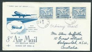 Canada  aircraft SG 540 540a and 556 (8 overprint) on FDC FU