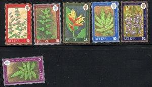 Belize SC404-409 Wild Flowers & Ferns MNH 1978 Christmas '78