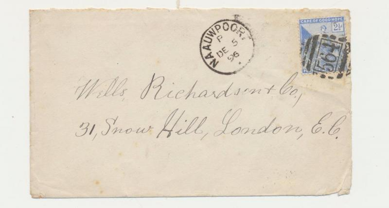 CAPE OF GOOD HOPE 1896 COVER, NAAUWPOORT CDS+ #564 BARRED, TO LONDON, 2½d RATE
