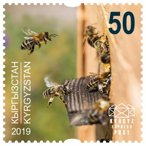 Stamps of Kyrgyzstan 2019. - Stamp.  140M. Honey bees.