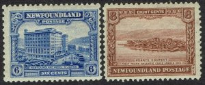 NEWFOUNDLAND 1928 PUBLICITY 6C AND 8C DLR PRINTING - 6C PERF 13.5 X13