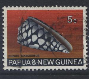Papua New Guinea- Scott -268 - Shells -1968-69 - FU - Single - 5c Stamp