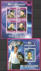 PE1211 2014 MALAWI SPACE 80TH ANNIVERSARY OF YURI GAGARIN KB+BL MNH