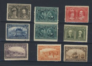 9x 1908 Quebec Mint stamps #96-1/2c To #103-20c Guide Value = $550.00