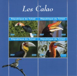 Chad Birds on Stamps 2020 MNH Hornbills Hornbill 4v M/S