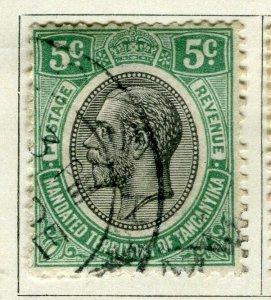 TANGANYIKA; 1927 early GV Head issue fine used 5c. value