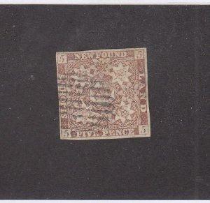 NEWFOUNDLAND (MK6780) # 5 FVF-USED 5p  1857 CREST IMPERF /BROWN-VIOLET CV $500