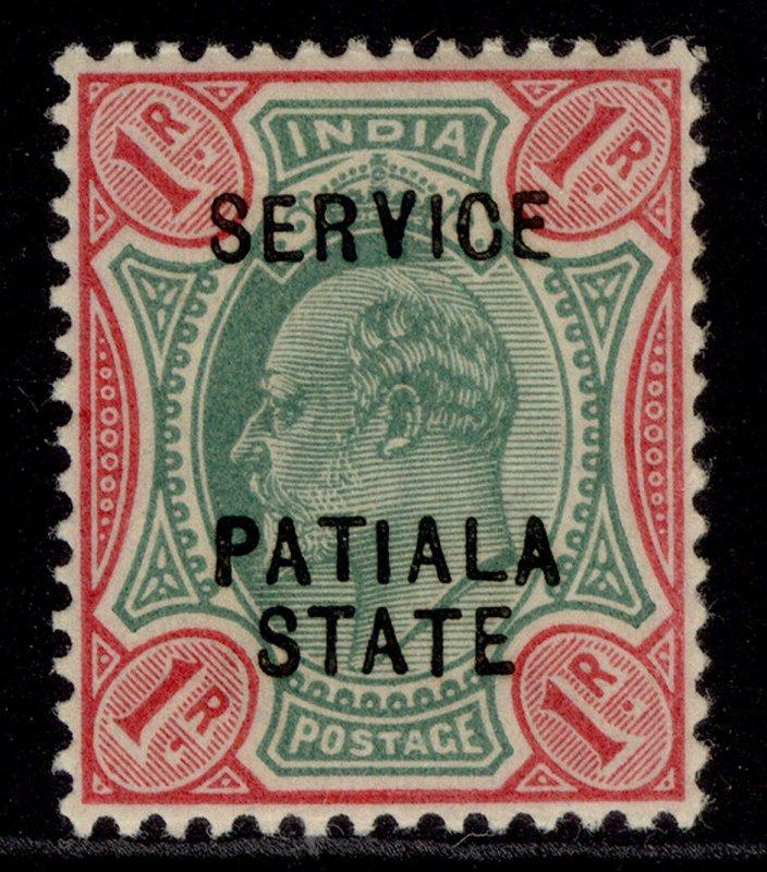 INDIAN STATES - Patiala EDVII SG O32, 1r green & carmine, M MINT.