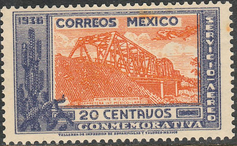 MEXICO C78, 20cents HIGHWAY INAUGURATION, MINT, NEVER HINGED