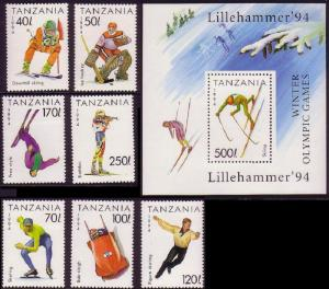 Tanzania Winter Olympic Games Lillehammer 7v+MS SG#1737-1743+1744 SC#1201-1208