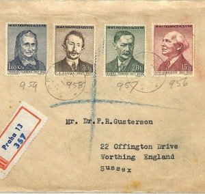 BU97 1957 Czechoslovakia WRITERS Set{4} Prague Airmail Cover PTS