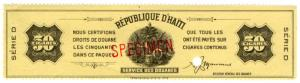 (I.B) Haiti Revenue : Tobacco Duty 50 Cigars (ABN Specimen)