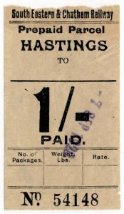 (I.B) South Eastern & Chatham Railway : Parcel 1/- (Hastings)