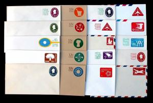 US Stamped Envelope Collection MINT Lot of 20 Small Covers ENTIRE
