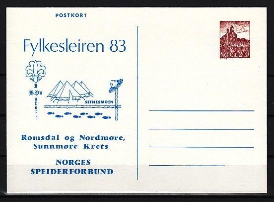 Norway, 1983 issue. Fylkesleiren 83 Scout Cachet on a Postal Card.