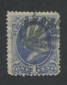 1870 US Stamp #145 1c Used F/VF Waterbury Cancel Catalogue Value $75