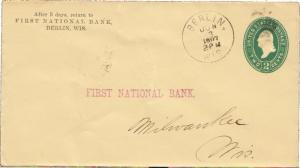 United States Wisconsin Berlin 1897 cork killer  Postal Stationery Envelope  ...