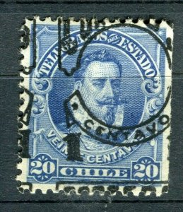 CHILE; 1903 early CORREOS Optd. issue fine Mint hinged 1/20c. Variety