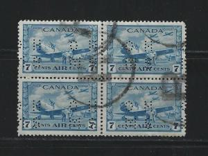 CANADA - #OC8 - 7c AIRMAIL AIR TRAINING 4-HOLE OHMS PERFIN USED BLOCK REGISTERED